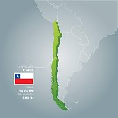 Chile 3d map with information of area and population of the country.