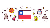 Chile banner design elements. Chilean flag surrounded with traditional signs and symbols. Vector clip art illustration, cute cartoon style.