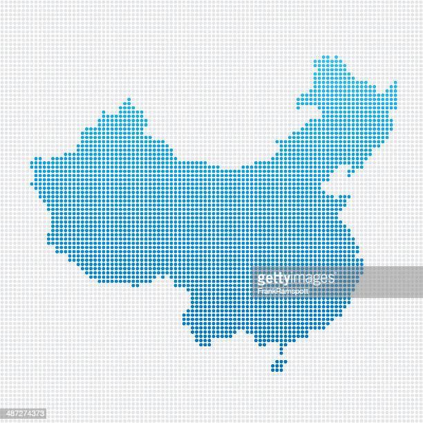 China Karte Blau gepunktet
