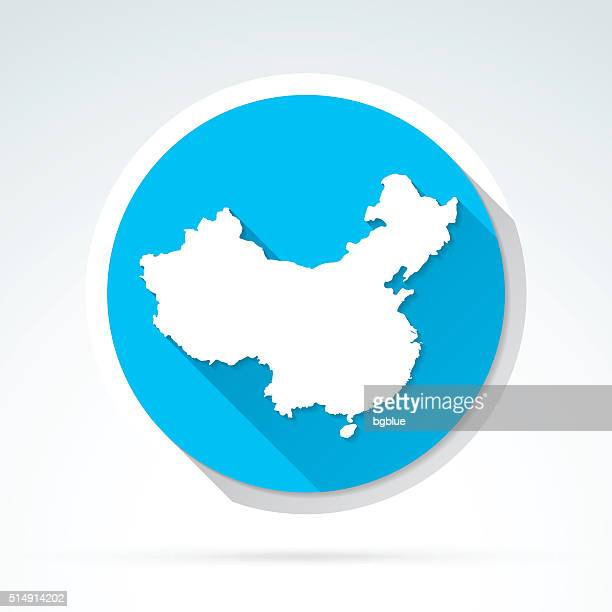 China Karte, Symbol, Flat-Design, lange Schatten