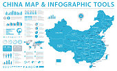China Map - Detailed Info Graphic Vector Illustration