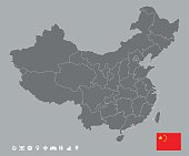 Editable template of detailed map of China with national flag and icons set, isolated on grey