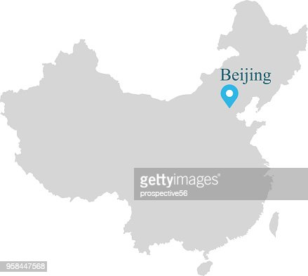 China Map Vector Outline Illustration With Capital Location Beijing