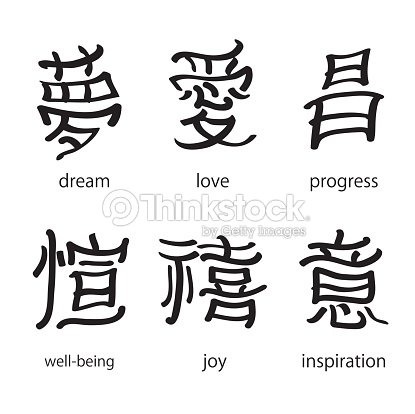 Chinese Characters With Translation Into English Vector Illustration