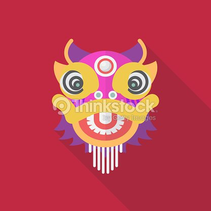 Chinese Dancing Lion In Flat Style Vector Art Thinkstock