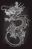 Chinese dragon on chalkboard backdrop. Hand drawn dragon vector illustration