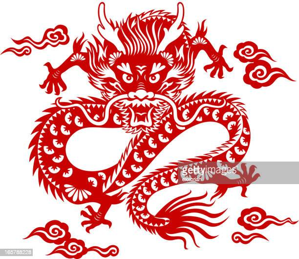 Chinese Dragon Papercut Art Vector Art | Getty Images