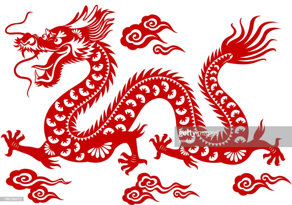 Chinese dragon papercut art vector art getty images for Chinese paper cutting templates dragon