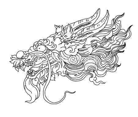 Tatuaje De Dragón Chino Mano Dibujar Zentangle Dragón Chino De
