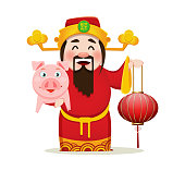 Chinese God of Wealth holding traditional lantern and pig. Chinese New Year 2019 greeting card. Vector illustration on white background. Hieroglyph on hat means prosperity.