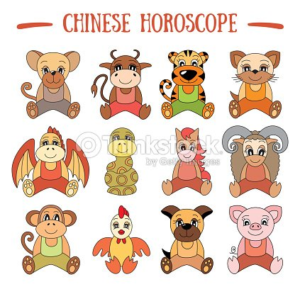 Chinese Horoscope Collection Zodiac Sign Set Pig Rat Ox Tiger Cat