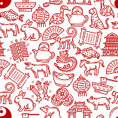 Chinese horoscope pattern background. Vector seamless line design of China zodiac signs and traditional celebration items of Chinese New Year. Dragon fireworks, coins or noodles and temple lanterns