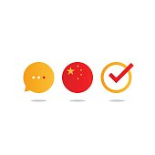 Chinese language class concept icon set and flag , language exchange program, forum and international communication sign. Flat design vector illustration