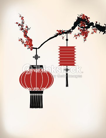 Lanterne chinoise hang sur cherry tree clipart vectoriel thinkstock - Dessin lampion ...