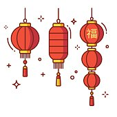 Set of Chinese New Year lanterns, round and cylinder shape. Traditional red paper lanterns with Chinese hieroglyph - Luck. Flat vector style illustration.