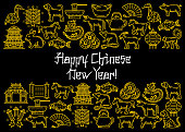 Happy Chinese Lunar New Year festive poster with linear icons. Zodiac animals and temple, golden sycee, noodle and lucky, teapot and fan. Fireworks and old gold ingot vector icons