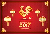 Happy Chinese new year 2017 card is lanterns Gold Chicken in frame with lantern, Chinese word mean rooster,vector illustration