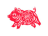 Сhinese Zodiac sign, paper cut Pig isolated on white. Chinese New Year 2019 Pig. Vector illustration