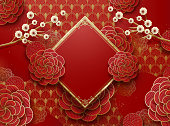 Blank Chinese new year background design with peony and spring couplet elements, paper art style