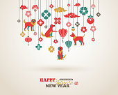2018 Chinese New Year Greeting Card with Hanging Asian Decorations. Vector illustration. Hieroglyph Dog.