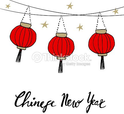 Chinese New Year Card With Hand Drawn Paper Lanterns Vector Vector ...