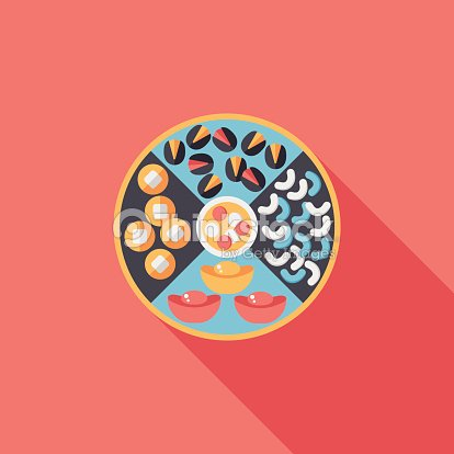 chinese new year desserts flat icon with long shadoweps10 vector art - How Long Is Chinese New Year