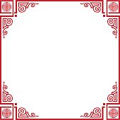 Happy Chinese New Year greeting card background. Gift card Chinese traditional decoration, red ornament on white background. Vector China. Frame, Border sign shop. Print