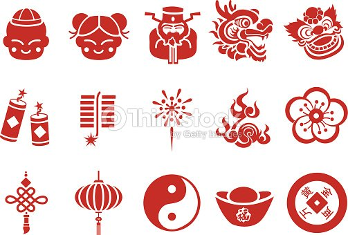 chinese new year icons illustration vector art - Chinese New Year Symbols