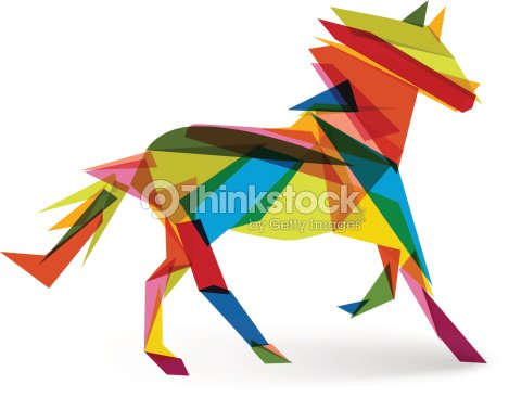 Chinese New Year Of The Horse Abstract Triangle EPS10 File Vector Art