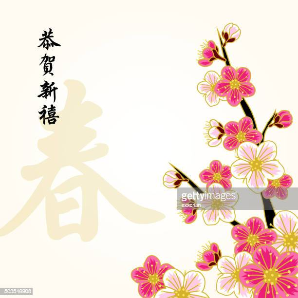 East asian ethnicity stock illustrations and cartoons - Flowers for chinese new year ...