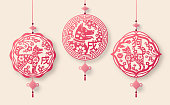 2018 Chinese New Year Pendants with Luck Knots. Vector illustration. Hieroglyphs - Animal Dog and Zodiac Sign Dog. Traditional Chinese Paper cut Art