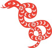 Traditional paper cut of a snake.