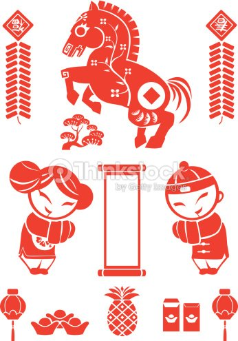 chinese new year zodiac sign horse red vector art - Chinese New Year Zodiac