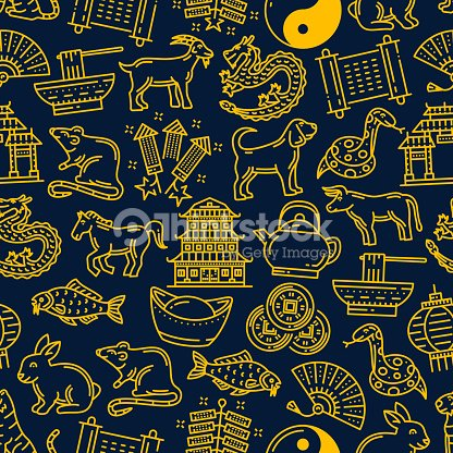 Chinese New Year Zodiac Signs Pattern Background Vector Art | Thinkstock