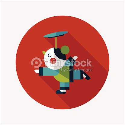 chinese nwe year acrobatics girls flat icon with long shadow vector art