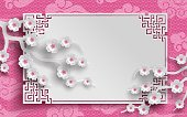 branches of cherry blossoms, oriental frame on pink pattern background for chinese new year greeting card, paper cut out style. Vector illustration