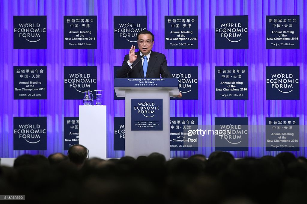 Chinese Premier <a gi-track='captionPersonalityLinkClicked' href=/galleries/search?phrase=Li+Keqiang&family=editorial&specificpeople=2481781 ng-click='$event.stopPropagation()'>Li Keqiang</a> gives a speech during the World Economic Forum on June 27, 2016 in Tianjin, China. The annual World Economic Forum New Champions meeting brings together business, economic and political leaders and former officeholders.