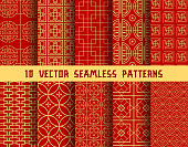 Chinese red and golden seamless vector patterns of abstract traditional Asian ornament. Vector background patterns set of Chinese or Japanese geometric circles and squares and ornate golden line shape