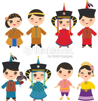 aeb712f95 Chinese Thai Mongolian Kawaii boy and girl in national costume and hat.  Cartoon children in traditional Thailand dress isolated on white  background. Vector