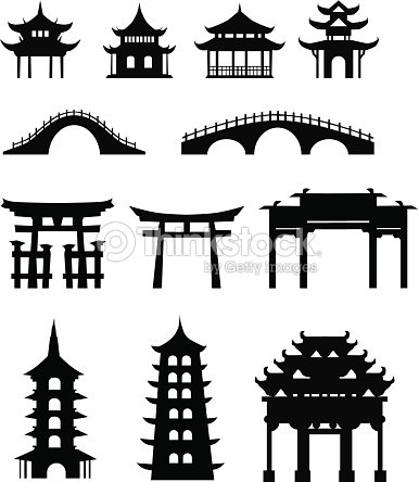 Chinese Traditional Buildings Vector Art
