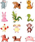 12 cute cartoonanimal icon set,Chinese Zodiac animal,vector illustration
