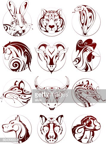chinese zodiac animals set vector art thinkstock