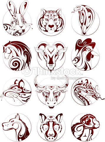 chinese zodiac animals set vector art thinkstock. Black Bedroom Furniture Sets. Home Design Ideas
