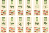 Chinese zodiac banners set with the corresponding years and elements