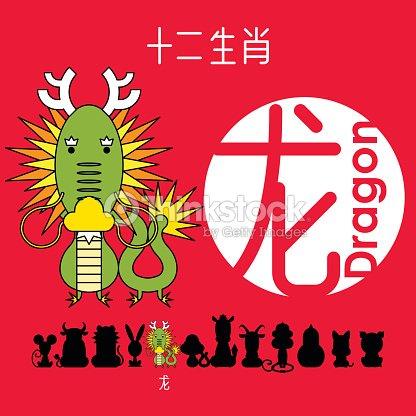 chinesischer tierkreis zeichen drachen mit chinesischen schriftzeichen drache vektorgrafik. Black Bedroom Furniture Sets. Home Design Ideas