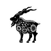 Chinese zodiac sign of the year of the goat. Black goat with white ornament