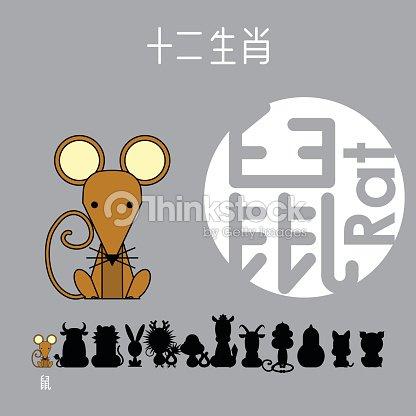 chinesischer tierkreis zeichen rat mit chinesischen schriftzeichen ratte vektorgrafik thinkstock. Black Bedroom Furniture Sets. Home Design Ideas