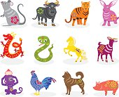 Chinese zodiac signs in many colors