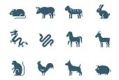 Chinese zodiac vector icon set