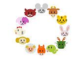 Chinese zodiac,Japanese zodiac: frame